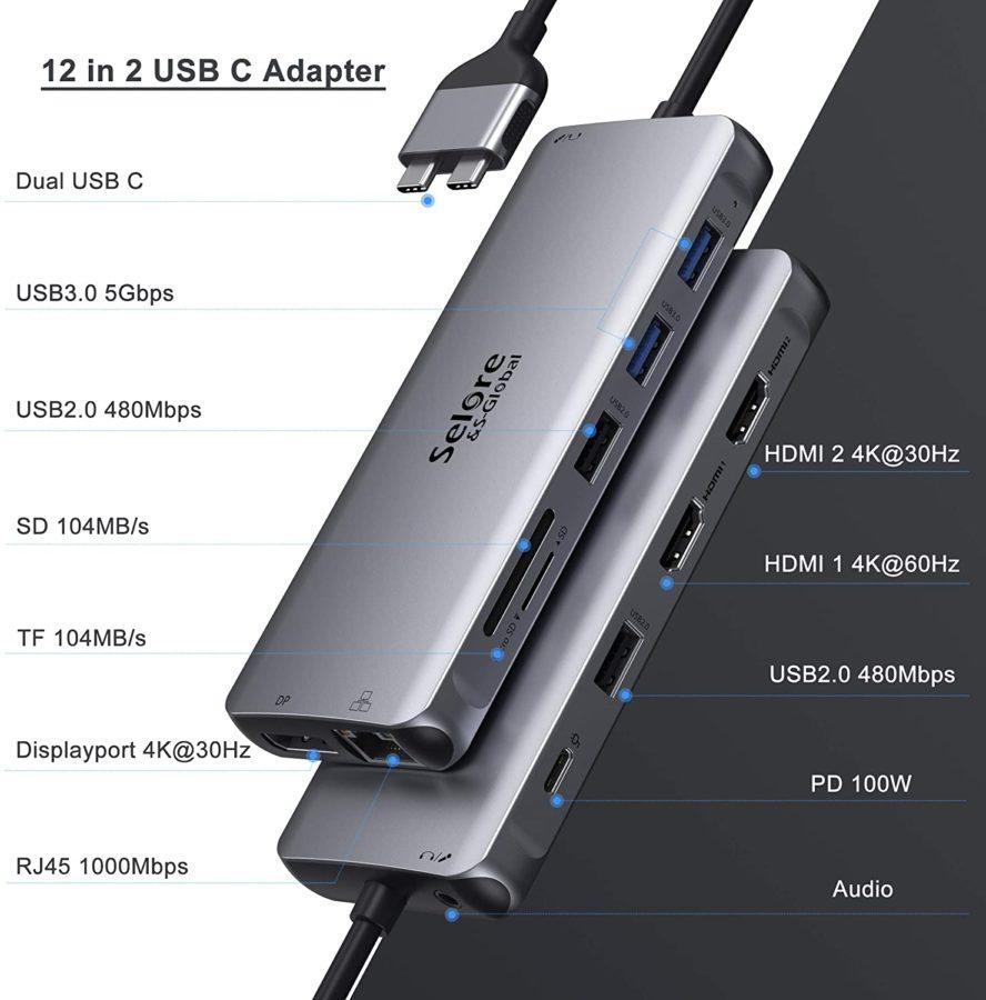 Selore USB-C Hub 12 in 2