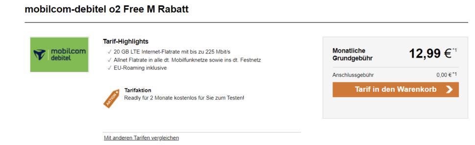 Mobilcom debitel 20GB fuer 1299