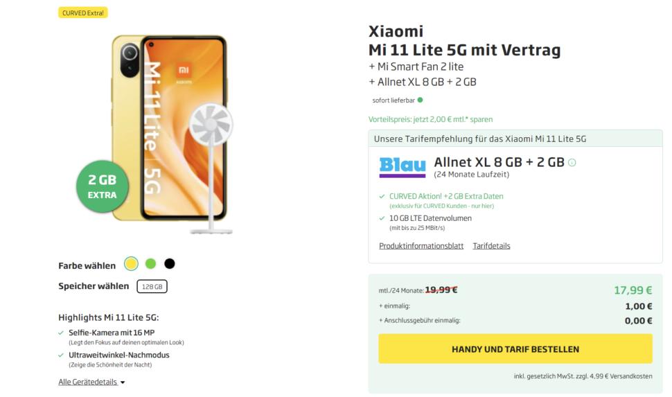Xiaomi Mi 11 Lite Deal mit Vertrag