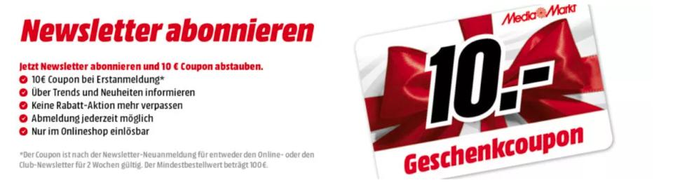Newsletter Gutschein Media Markt