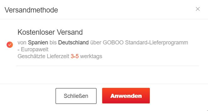 Goboo Standard Versand Europa