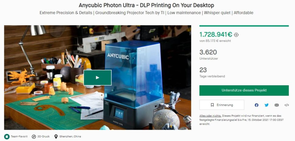 Anycubic Photon Ultra 3D Drucker Kampagne