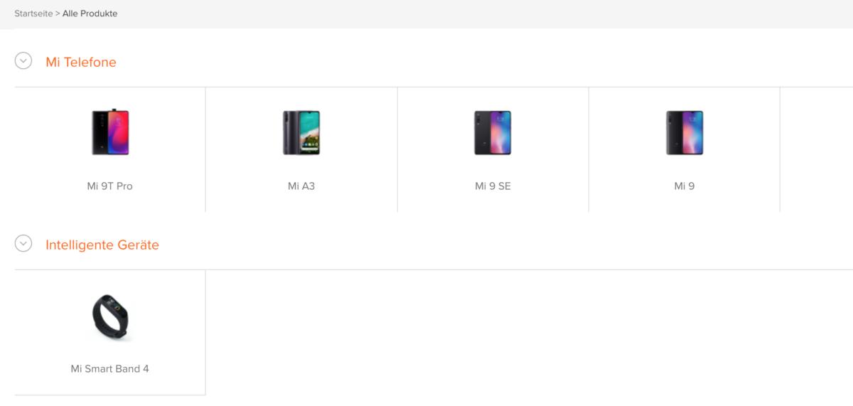 Xiaomi Deutschland Produkte